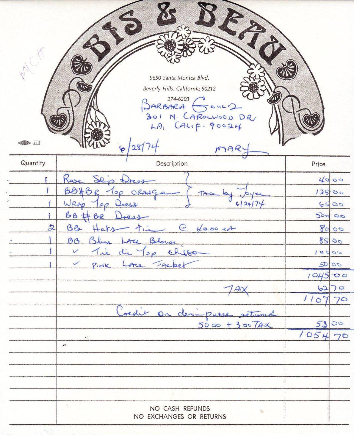 Bis & Beau 1974 Store Receipt