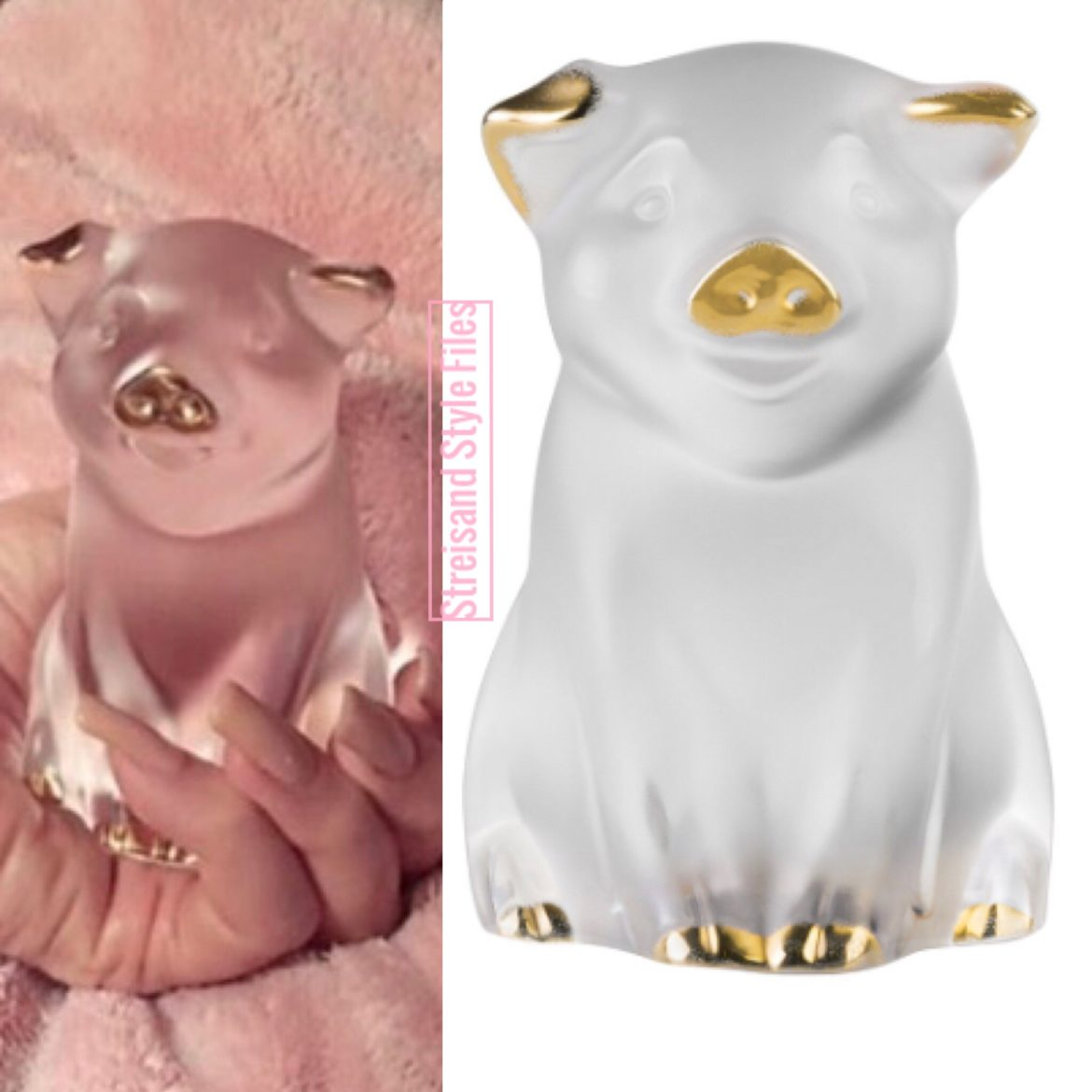 Barbra's Lalique Pig, Gifted From Ariana Grande