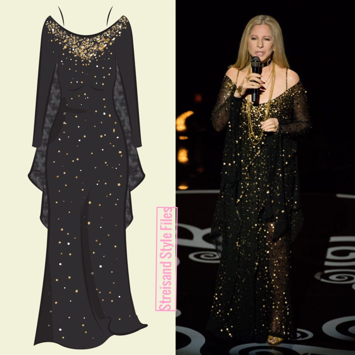 "2013 Academy Awards ""City Lights"" gown. A design collaboration with Donna Karan"