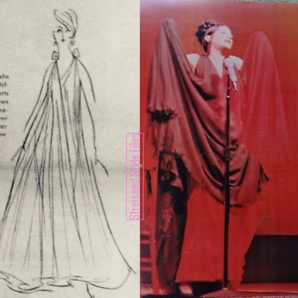 Sarmi chiffon gown and Kenneth Jay Lane Earrings for An Evening With Barbra Streisand, 1966
