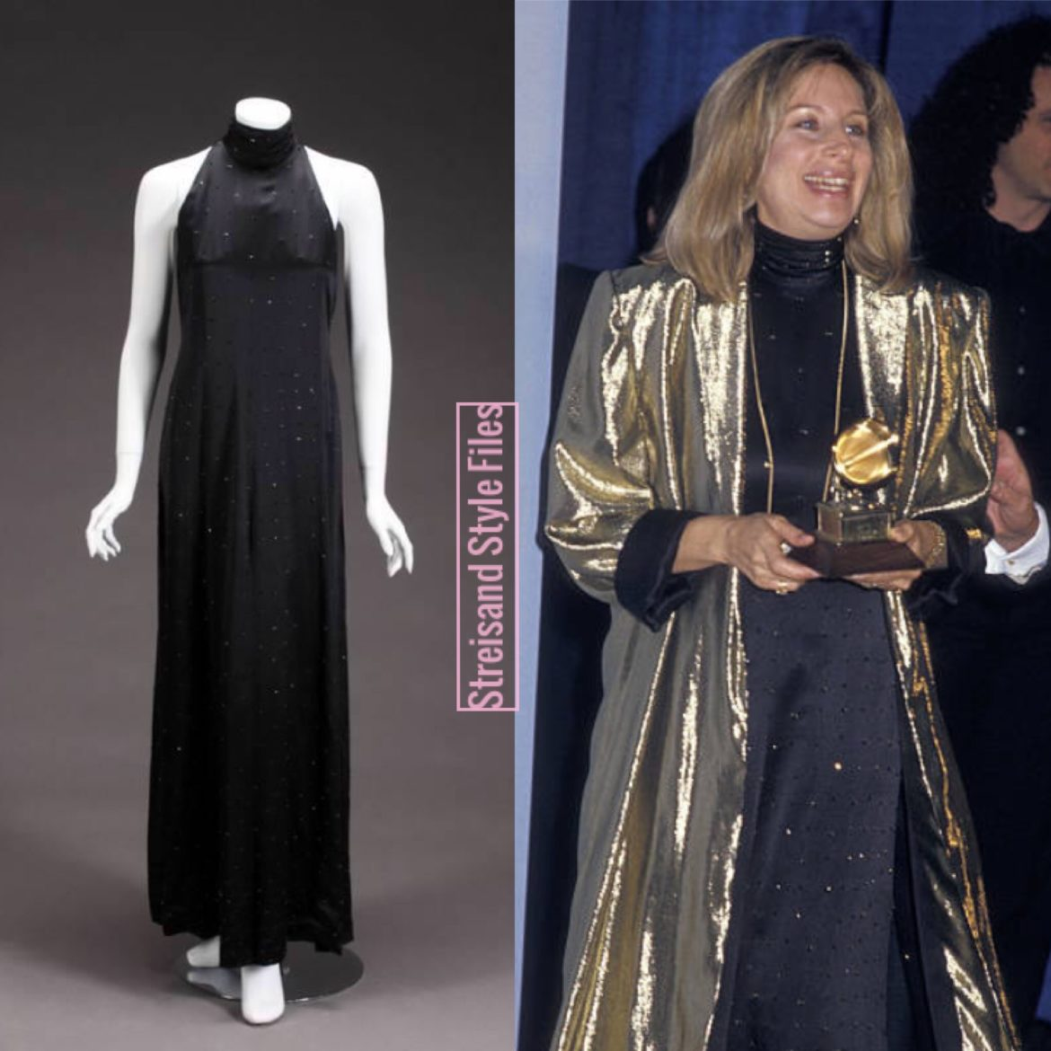 In A Nolan Miller Black Silk Dress At The 1987 Grammy Awards