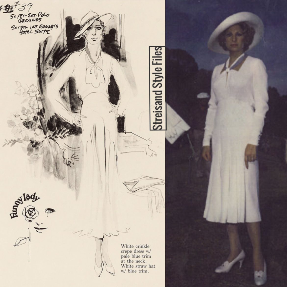 Funny Lady White Crepe Dress And Harry Hatz Hat