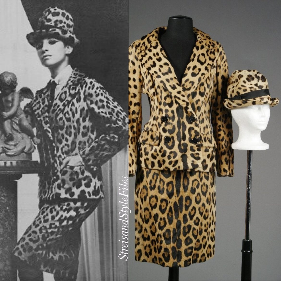 Self-Designed Leopard Skirt Suit And Bowler Hat