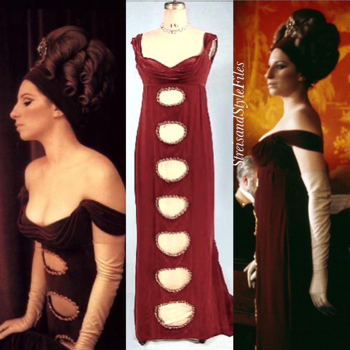 On A Clear Day You Can See Forever Burgundy, Regency Period Gown by Cecil Beaton