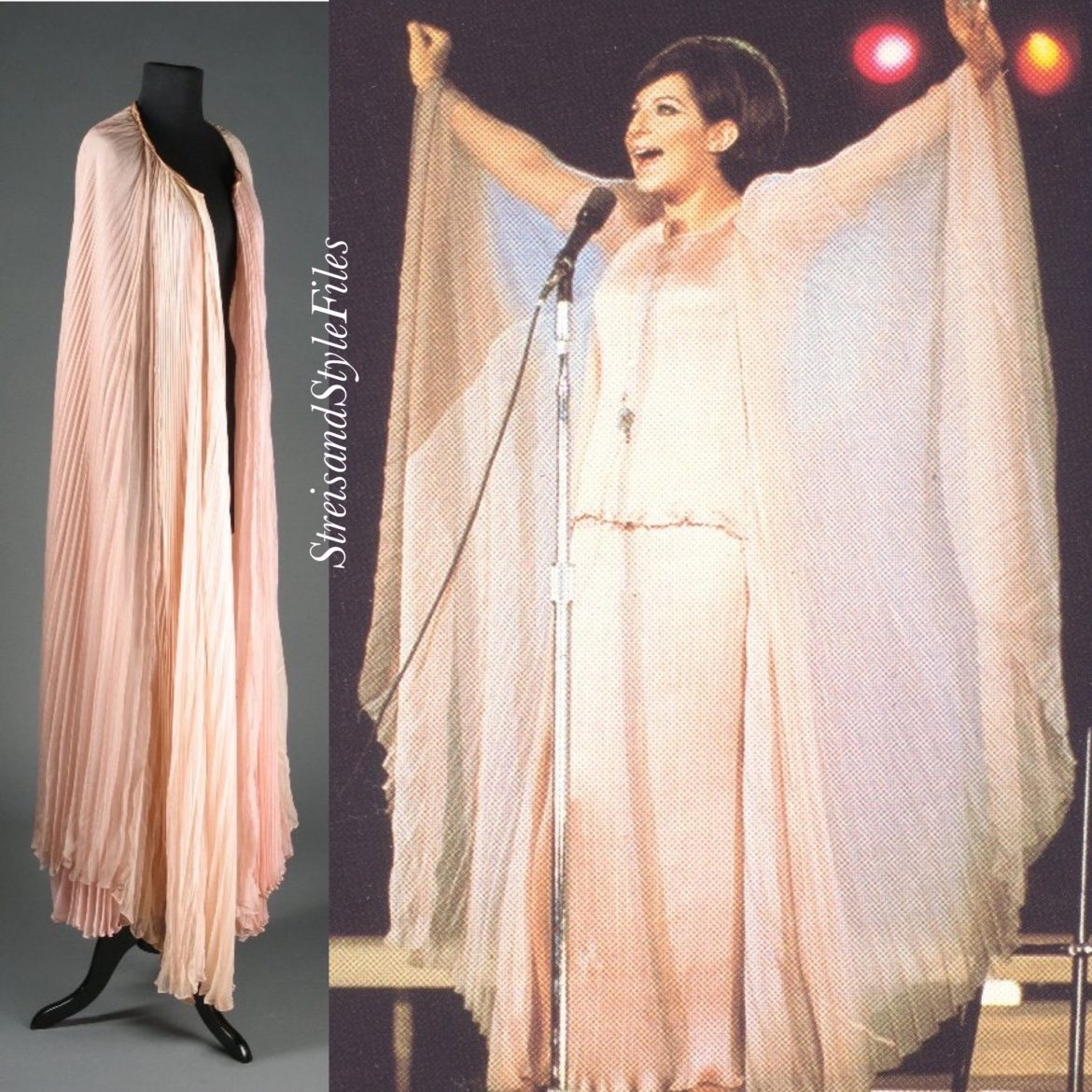 A Happening In Central Park Pink Fortuny Delphos Replica And Chiffon Cape by Irene Sharaff