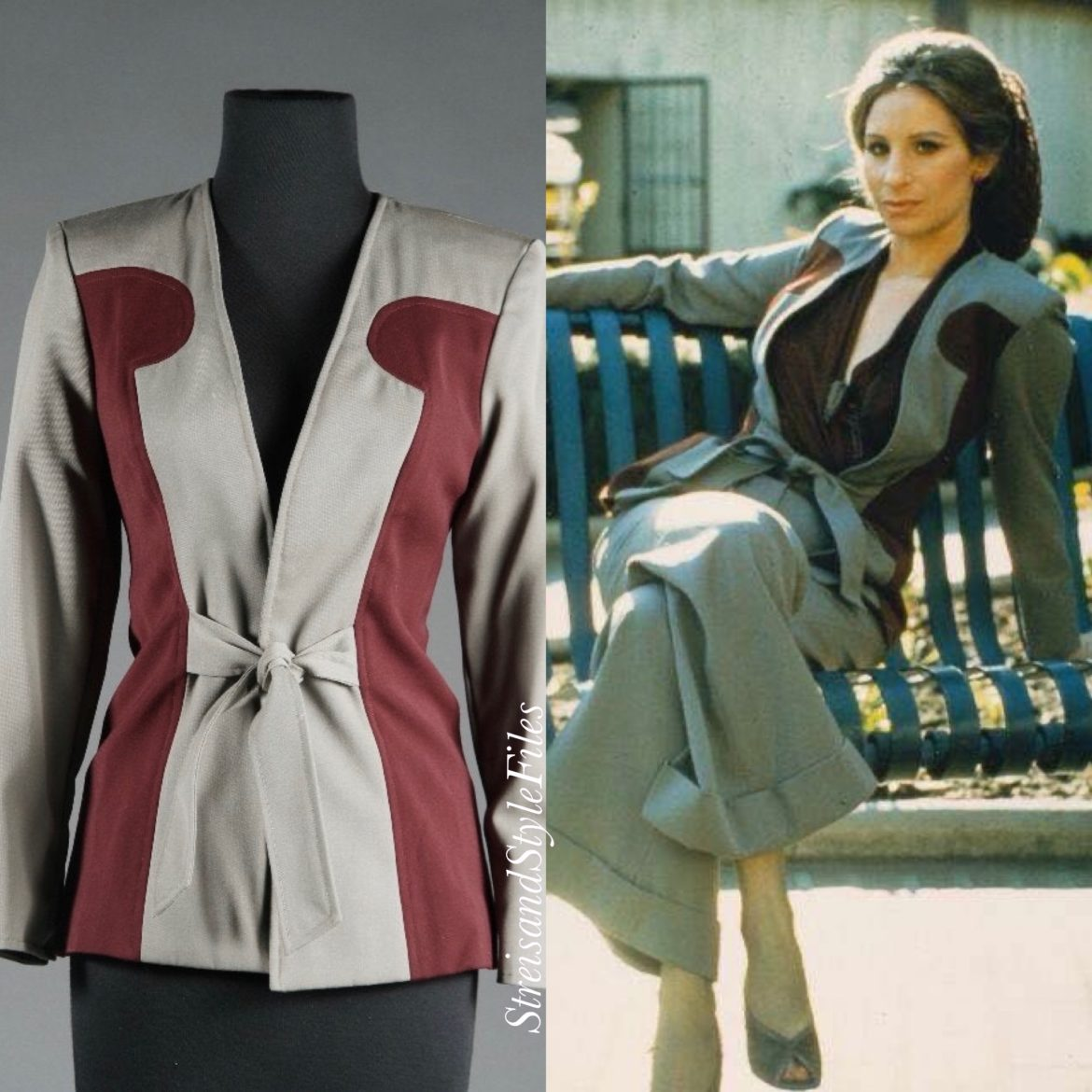The Way We Were 1940's color blocked grey and burgundy jacket