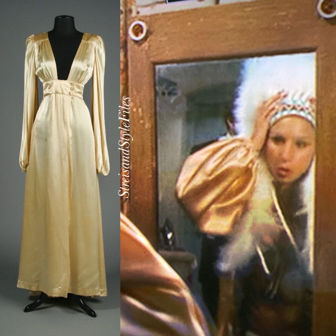 Funny Lady 1940's style gold negligee by Bob Mackie and Ray Aghayan