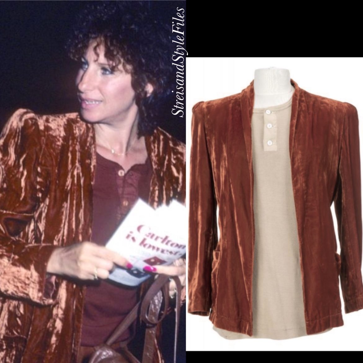 "Attending 1980's ""Mornings at Seven"" on Broadway in a copper velvet Krizia blazer"