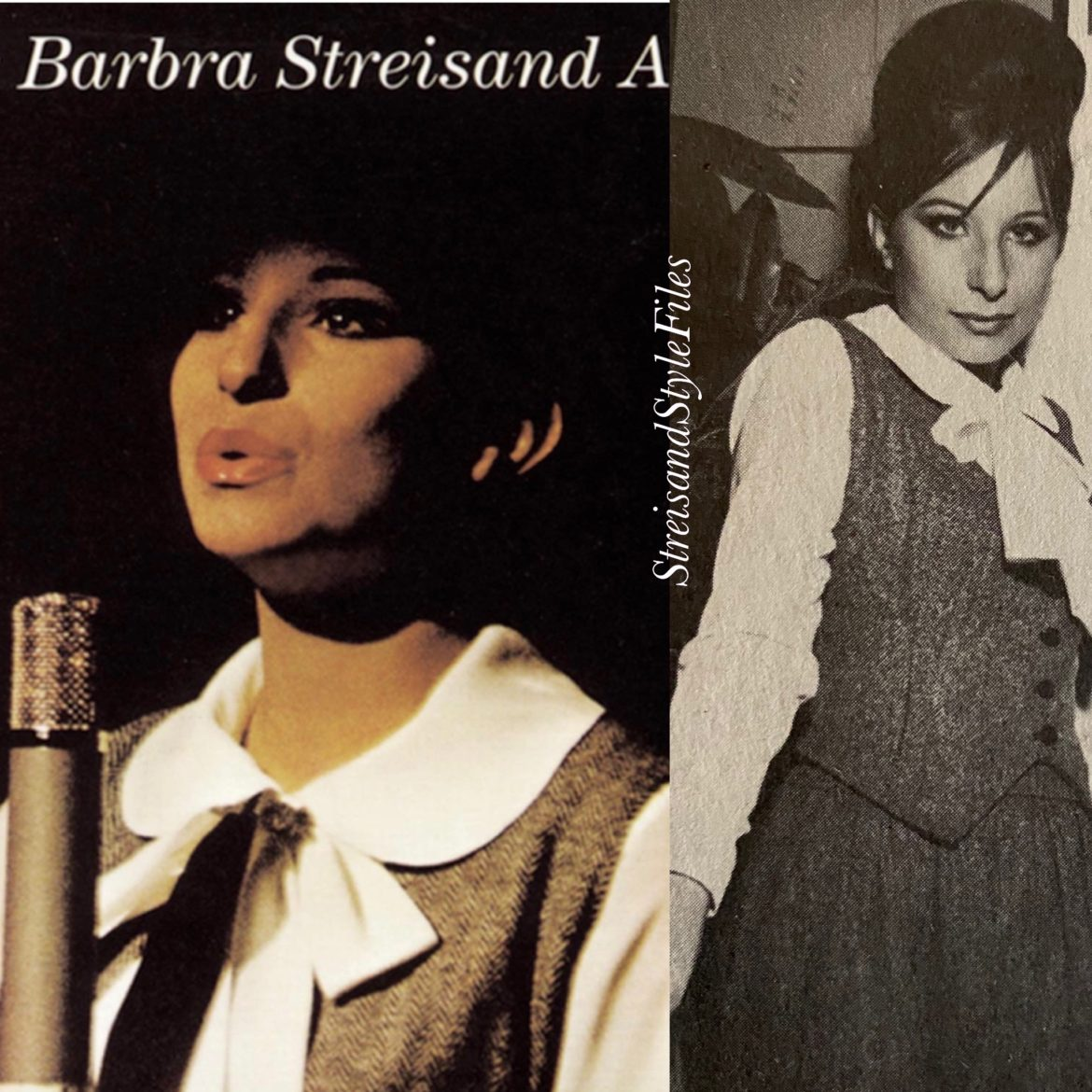 Self designed herringbone ensemble on the cover of The Barbra Streisand Album (photo from the Bon Soir)