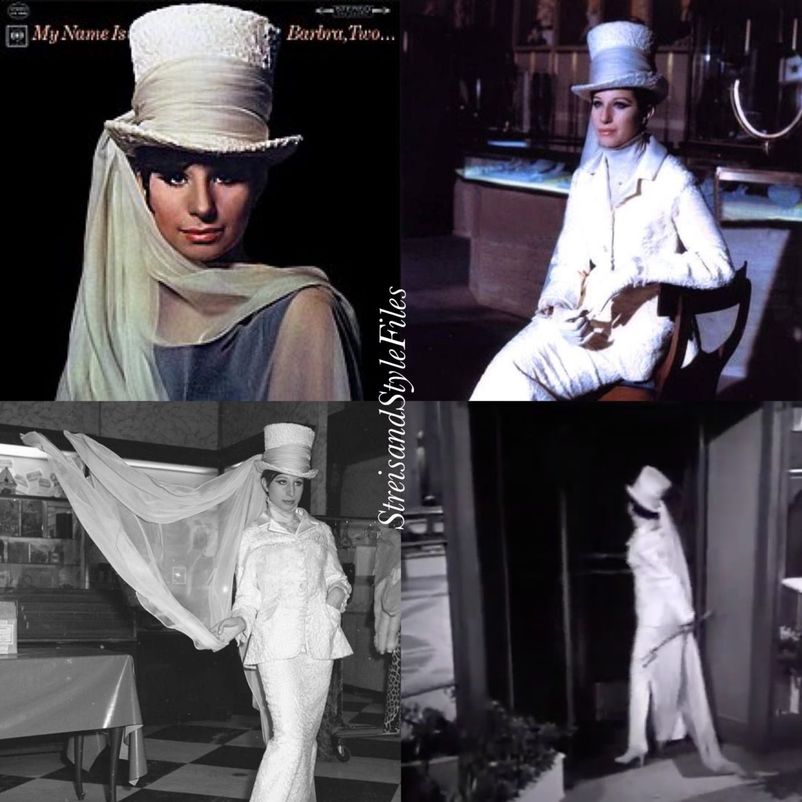 """My Name is Barbra, Two"" album cover and ""My Name is Barbra"" TV special in a Halston hat"