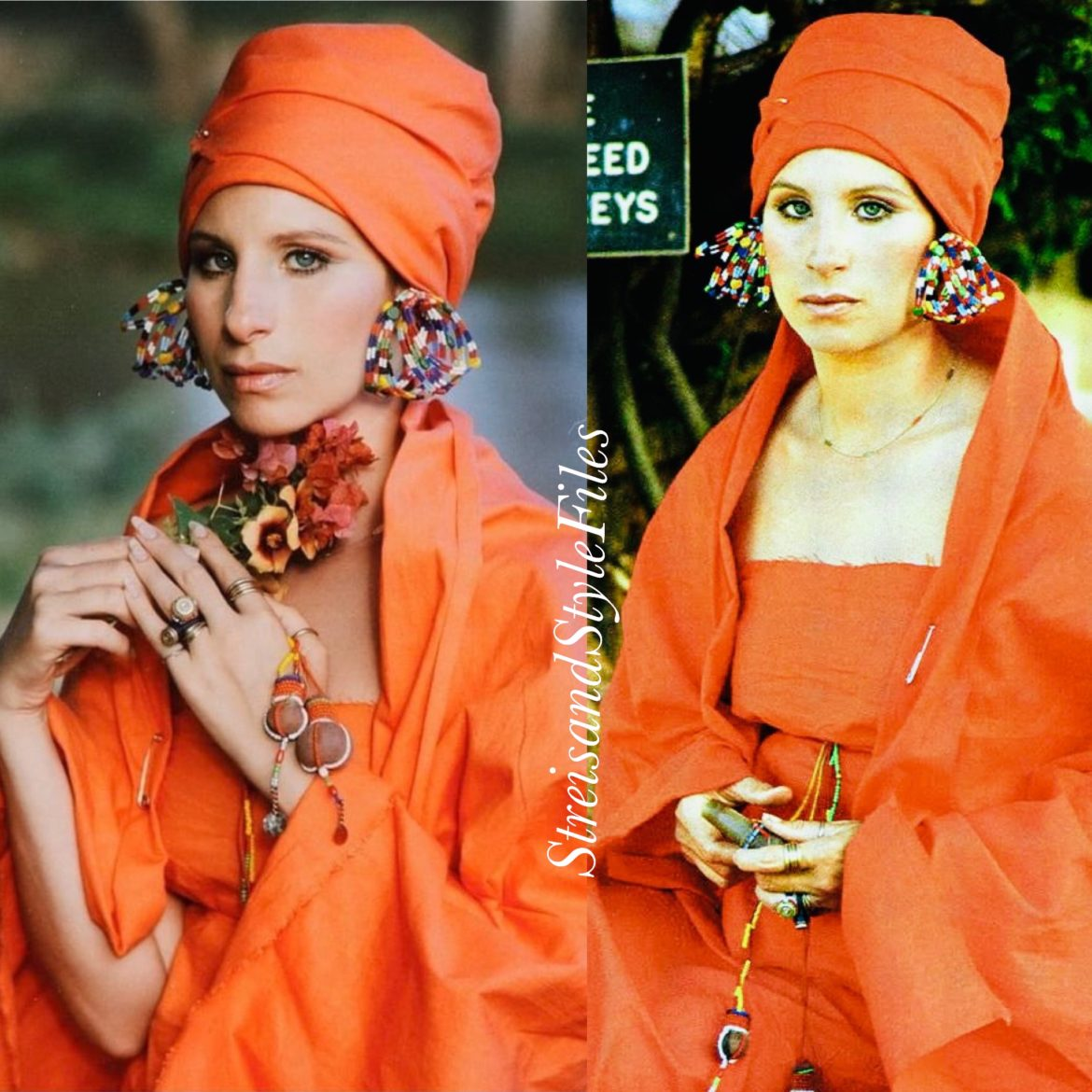"""Orange tribal outfit on location in Kenya for """"Up the Sandbox."""""""