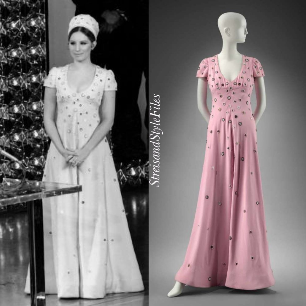 1970 Academy Awards pink gown and pillbox hat by Scaasi
