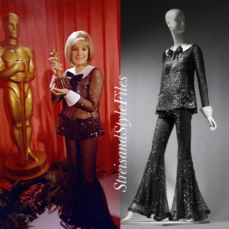 1969 Academy Awards in Scaasi nude-illusion evening pajamas