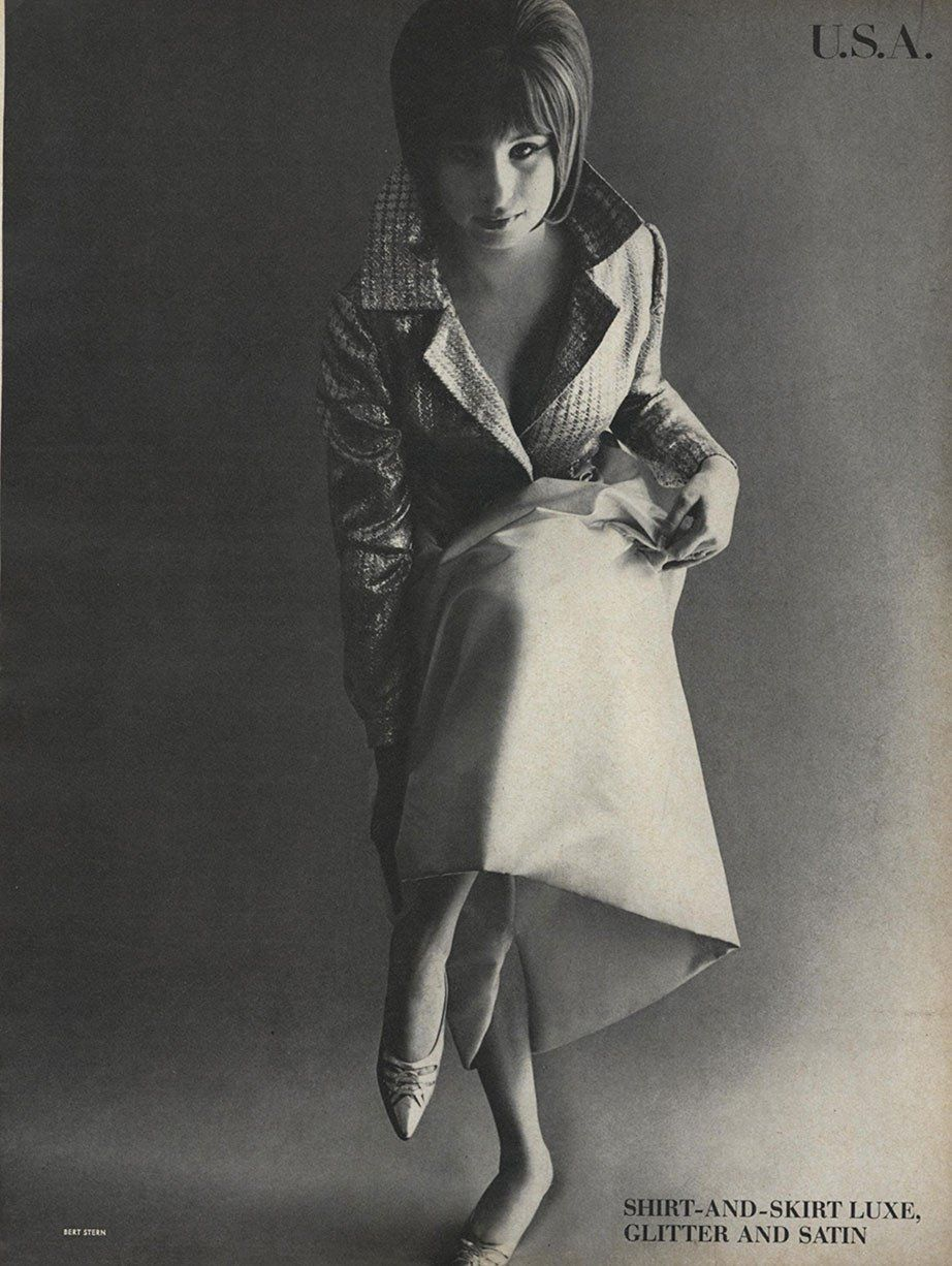Wearing Malcolm Starr and Fiorentina in the August 1, 1964 edition of Vogue