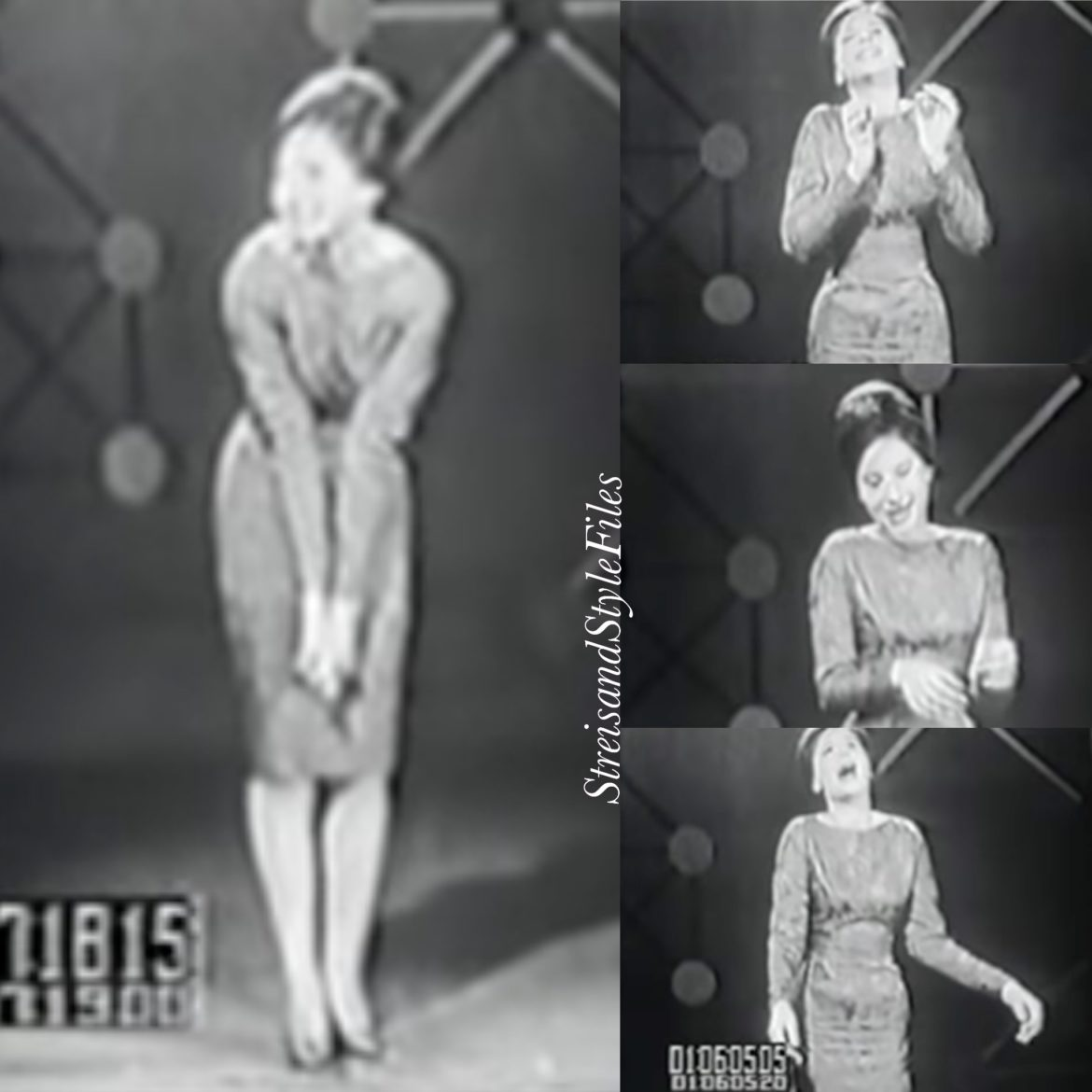 Self-designed dress made of burgundy upholstery fabric on Tonight Starring Jack Paar in 1961